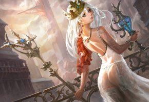 Обои Девушка, тело, тату, королева, корона, скипетр, арт, взгляд, посох, ткань, чулки