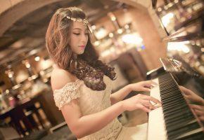 музыка, пианино, азиатка, Девушка, милая, красивая, кудри