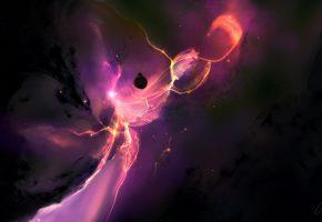 Обои свет, планеты, звёзды, туманность, космический пейзаж