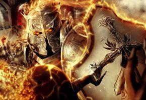 Обои щит, доспех, крест, арт, огонь, оружие, шлем, воин