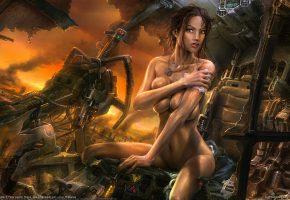 Обои Робот, девушка, брюнетка, тело, грудь, грудь, живот, ножки, разрушение, битва, оружие