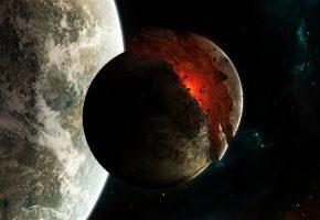 Обои катастрофа, вселенная, планета, космонавт, спутник