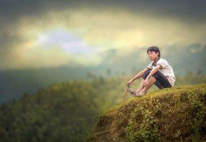тибет, горы, склон, мальчик, сидит, мечтает