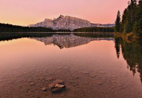 Mount Rundle, Banff National Park, Alberta, Canada, Банф, Альберта, Канада, озеро, дно, отражение, горы, лес