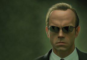 Матрица, The Matrix, Agent Smith, Hugo Weaving, очки, зеленый
