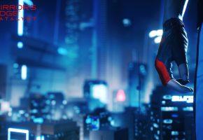 Обои Mirror\'s Edge: Catalyst, игра, девушка, город, рука
