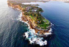 Sydney, Сидней, Австралия, волны, дома, скалы
