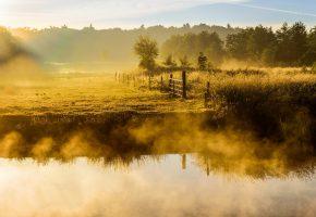 Обои утро, река, туман
