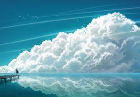 чайки, море, облака, пирс, девочка