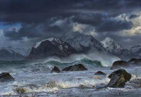 Обои Norway, Лофотенские острова, Норвегия, Норвежское море, горы, море, шторм, волны, камни