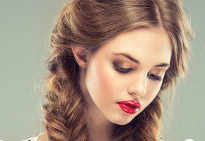 девушка, модель, взгляд, лицо, макияж, помада, волосы, косы, фон