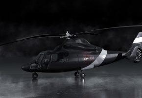 Обои черный, вертолет, рендер, дым, лопасти