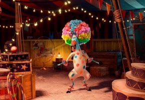 Обои зебра, клоун, мадагаскар, цирк, пятна, мартин, смех