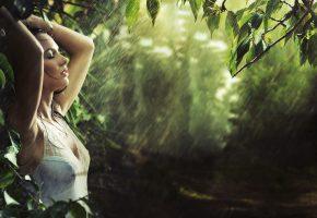 Обои дождь, лето, девушка, настроение, брызги, мокрая