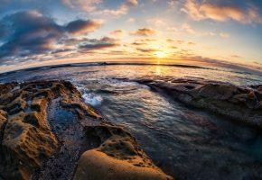 Обои Ocean, Ла-Хойя, Сан-Диего, Калифорния, Тихий океан, камни, закат, побережье, горизонт