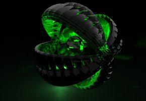 Обои 3D, абстракция, черное, зеленое, шар