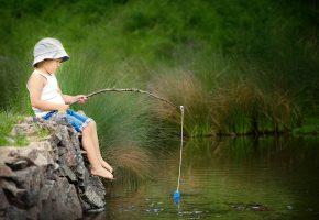 мальчик, рыбалка, река, лето, удочка