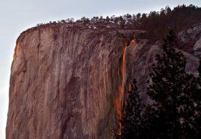 Обои Yosemite National Park, Калифорния, США, гора, скала, деревья, водопад, закат, огни