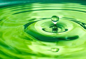 Обои зеленый, капля, вода, круги
