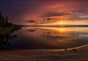 Обои утро, заря, река, берег, небо, отражение