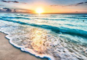 Обои берег, песок, пляж, море, волны, солнце, рассвет