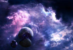 Обои планеты, звезды, туманность, осколки