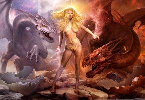 Обои магия, драконы, War of dragons, девушка, волосы