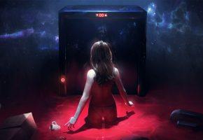 Девушка, стоит, вода, лифт, космос, небо, отражение
