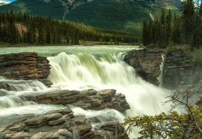 Обои Канада, водопад, река, камни, лес, деревья