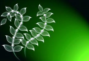 абстракция, растение, листья, свечение, вектор, графика