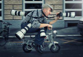 мужик, фотограф, paparazzi, мопед, скорость