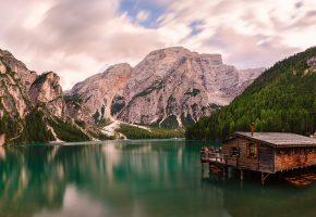Альпы, Италия, озеро, горы, лодочная станция, лодки