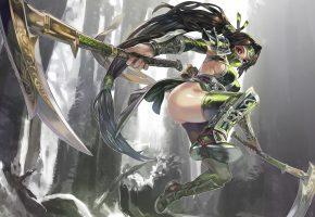Обои девушка, оружие, league of legends, прыжок, akali