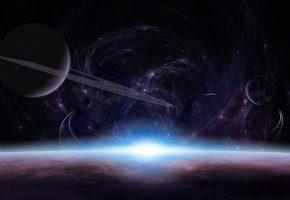свет, кольца, восход, Планеты, атмосфера, звезды