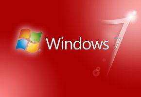 Обои windows, логотип, красный фон, цвет, цифра, свет