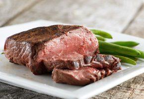 мясо, жаренное, стручки, поднос, тарелка