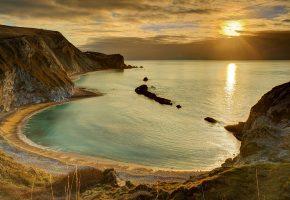 Обои закат, пейзаж, берег, море, красота