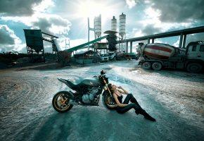 Обои мотоцикл, Хонда, Honda, девушка, грузовик, завод