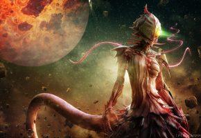 Монстр, осколки, звезды, луна, хвост, когти