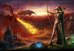 Обои Лучница, дракон, крылья, огонь, замок, горы, стрелы, девушка