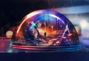 Обои хрустальный шар, стекло, человек, мир, сказка