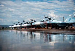 Су-30СМ, истребители, аэродром, самолеты, купола, взлетная полоса
