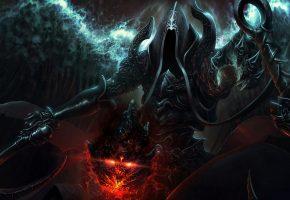 Обои колдун, маг, оружие, демон, капюшон