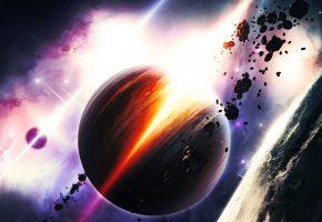 Обои планета, астероиды, звезды, туманность, огни