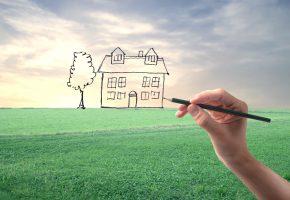 дом, макет, рисунок, рука, карандаш, поле, трава