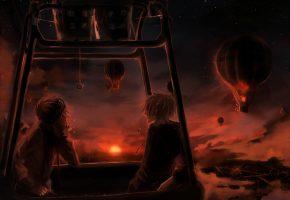 парни, воздушный шар, полет, пейзаж, небо, облака, солнце, закат, город, огни