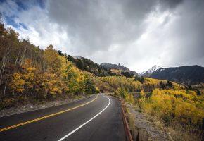 Обои дорога, лес, осень, небо, тучи, горы