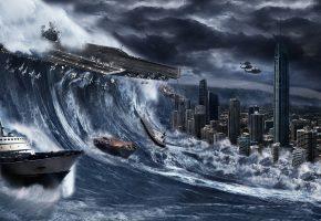 катасторофа, шторм, буря, город, море, волна, затоп