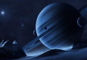 Обои планеты, юпитер, кольца, звезды