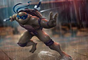 Mutant, Ninja, Turtles, Leonardo, дождь, меч, мутант, ниндзя, черепаха